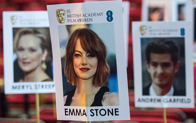 Emma Stone embraces ex-boyfriend Andrew Garfield ahead of BAFTAs